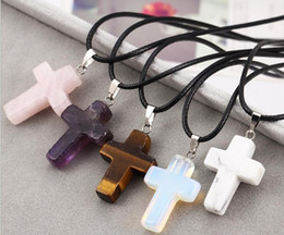 Wholesale Cross Necklaces Black Rope - Europe and the explosion of leather rope cross Turquoise pink crystal pendant necklace Natural Stone tigereye sweater wholesale jewelry