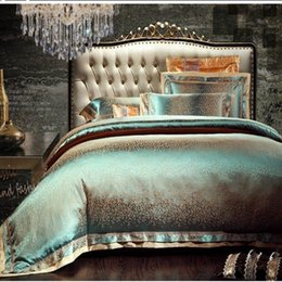 Wholesale Silk Quilt Comforter - Wholesale-6pcs Green Jacquard silk bedding set queen king Luxury Satin quilt duvet comforter cover bed linen bedclothes set home textile