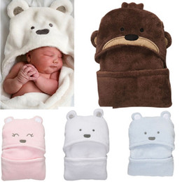 Wholesale Baby Thermal Sleepwear - Animal Hooded Baby Bathrobe Coral Fleece Newborn Blankets Sleepwear Baby Clothes Newborn wrap envelope Hot Sale