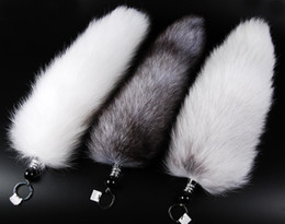 keychains tags Promo Codes - Wholesale-30-47cm Genuine Red Fox Silver Fox Tail Keychain Fur Tassel Bag Tag Charm Keyring Free shipping