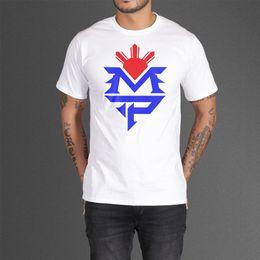 Wholesale Boxer Tee - Wholesale- Free Shipping Fashiont shirt Manny Pacquiao MVP Logo T Shirts Cotton Short Sleeve O Neck T-shirts Boxer tee shirts