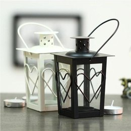 Wholesale Moroccan Candle Holders Wholesale - Black White Metal candle holders Iron lantern wedding candelabra candelabra centerpieces wedding moroccan lanterns candle lantern