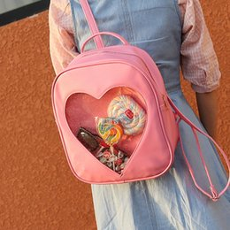 Wholesale Heart Shape Shoulder Bags - 50pcs lot Summer Candy Transparent Love Heart Shape Backpack Harajuku School Backpack Shoulder Bags For Teenager Girls Book Bag