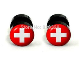 Wholesale Plug Flag - Sweden flag logos acrylic cheater fake ear plugs earring stud illusion fake plugs size 10mm*1.2mm FEP028