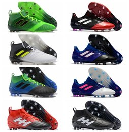 Wholesale Soccer Indoor Shoes Messi - Cheap ACE 17.1 FG leather soccer cleats for men soccer shoes 2017 Orginal ACE football boots primeknit messi shoes blackout Mens new arrival