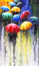 abstract rain painting Promo Codes - 5D Diamond Embroidery needlework diy Diamond painting Cross Stitch Kits Street in the rain full square diamond mosaic Room Decor zf0189