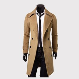 Wholesale Men S Fitted Trench Coat - Wholesale- 2016 new fashion brand mens wool Warm winter coats long overcoat men Double Breasted trench coat Slim Fit Windproof jacket