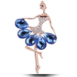 Broche checo online-Refinamiento coreano Moda Accesorios Finos Joyas de lujo Checa Rhinestones Water Drop Dancers Figura de la muchacha Encanto Broches Pins para mujeres