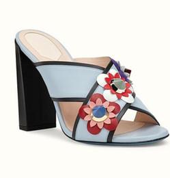 Wholesale Ethnic Sandals - Brand 2017 Flower T Show Slipper Summer Womens Sandals Chunky heels Slip on Open toe Slides Ethnic Sandals Femme