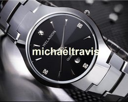Wholesale Tungsten Diamond Watches - WELASIDN Luxury Brand watches for mens Quartz Watch Japan Movemant Full Tungsten Steel Strap Hours 3AMT date Dress Diamond New Clock