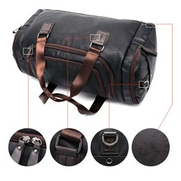 Wholesale Travel Hand Bag For Men - men Men's PU Leather Sports Duffel Tote Hands Travel for Gym Fitness Male Bag Man Women Camping Brown Black