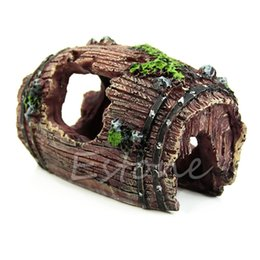 Wholesale Ship Aquarium Ornaments - Free shipping Aquarium Fish Tank Artificial Barrel Resin Ornament Cave Landscaping Decoration