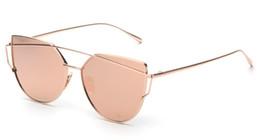 Wholesale Golden Beam - New Women Cat Eye Sunglasses Fashion Women Brand Designer Twin-Beams Coating Mirror Sun glasses Female Sunglasses