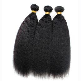 Wholesale Coarse Yaki - 9A Malaysian Kinky Straight Hair 3Pcs Lot,Coarse Yaki Hair Wefts,Natural Black Afro Kinky Straight Weave Italian Yaki Human Hair Bundles