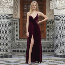 Wholesale Gold Side Cross Charms - vestido de noiva Charming Spaghetti strap Simple Long Prom Dress Sexy Backless Burgundy Velour Side Split Prom Party Dress Evening Gowns