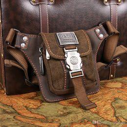 Wholesale Retro Leather Belt - Hot mini man retro fashion purse leisure canvas waist bag soft leather belt leisure and tourism phone pockets