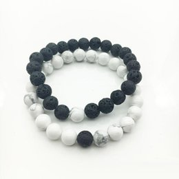 Wholesale Natural Bracelets - Free shipping Women Men Natural Lava Rock Beads Chakra Bracelets Healing Energy Stone Meditation Mala Bracelet