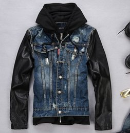 Wholesale Denim Jacket Leather - Wholesale- Free Shipping!2017 Spring And Autumn Fashion Brand Designer Jackets Leather Sleeves Jeans Jacket Mens Hooded Denim Coats M-XXL