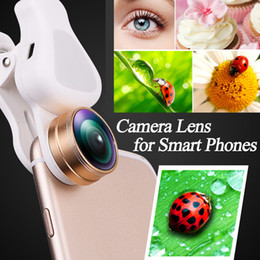 Wholesale Cell Phone Telescope Lens - New 4 in 1 Cell Phone Fish Eye Lens Clip &Telescopes LED Filling Light Fisheye wide angle lens Macro Lens for ios Android &Most Smart phones