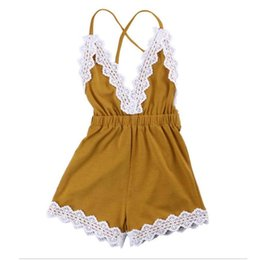 Wholesale Trimming Clothes - Cute Lace Trim Baby Girls Romper Western Girls Outfit Backless Baby Girls Jumpsuit Cotton Sleeveless Baby Clothes
