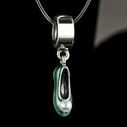 Wholesale Cross Pendants For Jewelry Making - Shealia Enamel Freshwater Pearl Tinker Bell Shoe Charms Pendants 925 Sterling Silver Dangle Fairytale Beads For Jewelry Making