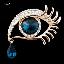 Wholesale Eye Pins For Jewelry - Elegant Women Rhinestone Crystal big Eye Brooches for wedding party ladies waterdrop Angel Tears Brooches pins for women jewelry