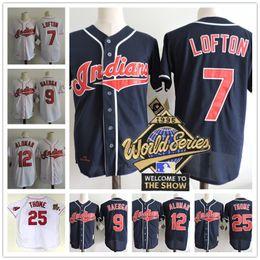 Wholesale Indian Series - Mens Cleveland Indians 1995 World Series Jerseys #7 Kenny Lofton 25 Jim Thome 9 Carlos Baerga 12 Roberto Alomar navy blue white throwback
