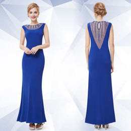 Wholesale Hot Sexy Fit - Sell like hot cakes! 2017 Women's Sheer Sleeveless Fitted Long Blue Evening Formal Dress