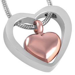 Wholesale Green Heart Double Chain Necklace - IJD8078 DOUBLE HEART Cremation Urn Necklace Women Charm,Wholesale Cheap Stainless Steel Keepsake Jewelry Pendant Urn Ashes Necklace Female