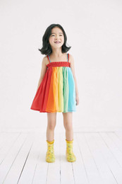 Wholesale Girls Patching Dress - Girls Colorful Patch Cotton Braces Dresses Summer 2017 Kids Boutique Clothing 2-7 Years Little Girls Rainbow Dresses