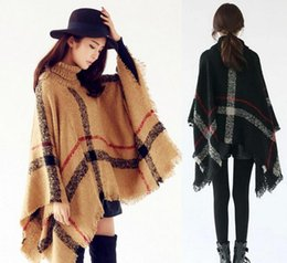 Wholesale Turtle Neck Stand Collar - Hot Sale Brand Lady High Turtle Neck Plaid Poncho Women Knitted Striped Tassel Sweater with Fringe Fashion Pashmina Scarf Warm Shawl