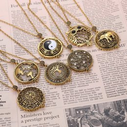 Wholesale Magnifying Glass Gold - Magnifying Glass Cage Pendant Long God Chain Necklaces Vintage Hollow Out Pendant Burnished Gold Charm Necklace For Women