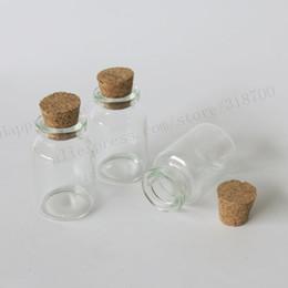 2020 il sughero del vaso di vetro del commercio all'ingrosso Wholesale- 100 x 10ml Bottiglie di vetro piccole bottiglie di fiale con tappo in sughero, 1 / 3oz Tappi in sughero decorativo bottiglia di vetro chiaro e lucente in vetro il sughero del vaso di vetro del commercio all'ingrosso economici