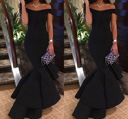 Wholesale Arab T Shirt - Off-Shoulder Prom Dresses 2017 Women Formal Evening Dress Arab Black Ruch Simple Mermaid Pageant Party Dresses