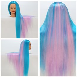 Wholesale Hairdressing Heads - Cosmetology Mannequin Heads Colorful Synthetic Hair Training Mannequin Head Hair weight 200g 70CM Wig Mannequin Head For Hairdressing