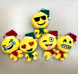 Wholesale Small Doll Hats - Christmas Gift 8x12cm QQ Emoji Smiley Pillow Small Plush Doll Keychain Many Designs Pendant Emotion Yellow Hat Expression Stuffed Toys Q0627