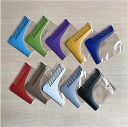 Wholesale Plastic Model Tools - 500Pcs Multi Colors Bro Beard Shaping Tool Mens Useful Beard Trim Template Hair Cut Hair Molding Trim Template Beard Modelling Tool