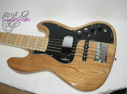 Wholesale bass guitar woods - Wholesale High Quality Custom 5 Strings Bass Electric Bass Guitar Natural wood Free Shipping