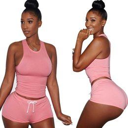 Wholesale Summer Shorts For Ladies - Top Quality 2017 Summer Women's Set Ladies Tracksuits vest and shorts Bodycon Elegant Sexy Playsuit female's suit for running jogg