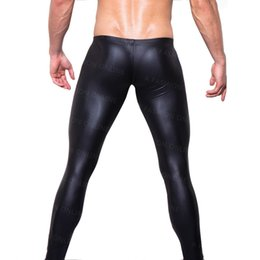 Wholesale Night Performance - Wholesale-On Sale Men' Fashion Low-rise Bulge Pouch Night Club Stage Performance Tights Pants Men's Sexy Faux Leather Leggings Black Skin