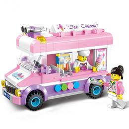 Wholesale mini brain - ice cream Car Building Blocks Mini Figure Toys Ninja figures For Girls Cute Lovely Brain creative Christmas New Year gifts Little Truck
