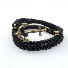 Wholesale Vintage Friendship - 2016 Summer Style Friendship Anchor Charm Bracelets Fashion Vintage Leather Bracelets&Bangles For Men Women Jewelry Pulseras