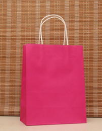 Wholesale Handle Wedding Paper Bag - Wholesale- 40PCS LOT Multifunction rose pink paper bag with handles 21x15x8cm  Festival gift bag   good Quality shopping kraft paper bags