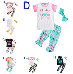 Wholesale kids headbands wholesale - New Summer Baby Girls Clothes Sets Letter Arrow T-shirt+Pants+Bow Headbands Children 3pcs Set Boutique Kids Girl Clothing Set