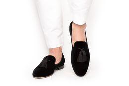 Mocassins mauves en Ligne-Newest design Suede Men Tassel Loafers Slip-on Men's Flats Party Wedding Shoes Mens Dress Shoes yellow,purple black and red