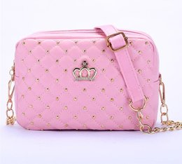 Wholesale Light Beige Bag - Fashion Women Messenger Bags Rivet Chain Shoulder Bag High Quality PU Leather Crossbody Quiled Crown bags
