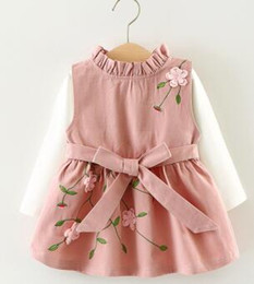 Wholesale Twill Pleated Dress - 2017 Children clothing baby girls embroidered dress clothing set top+dress 2 pieces kids fashion cute long sleeve dress Free shipping