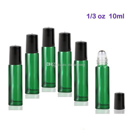 Wholesale Stainless Steel Bottle Print - High Quality 300pcs lot 10 ml Glass Roll-on Bottles with Stainless Steel Roller Balls For Essential Oils (Green)
