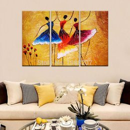 Wholesale Modern Dance Oil Painting - 3 Panles Abstract Spanish Dance Oil Paintings Printed on Canvas with Wooden Framed Wall Art Painting For Home Modern Decor
