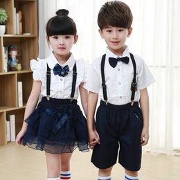 Wholesale Wholesale White Uniform Shirts - 2017 New Kids School Uniform Dress Set 2PCS Set Girl White T-shirt + Suspender Skirt Boys White Shirts+Suspender Short Pants B4598